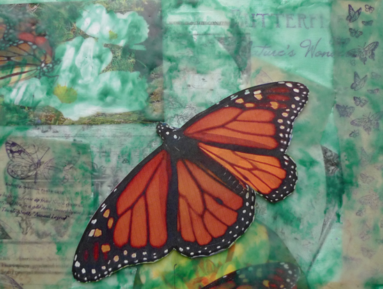 Migrant Danaus by Maike's Marvels photographs in encaustic collage