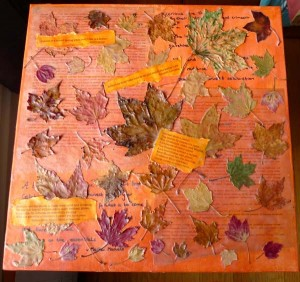 encaustic collage-Watching Leaves Turn, wall decor by Maike's Marvels
