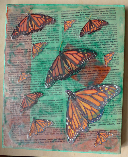 Migrating Monarch butterflies by Maike's Marvels, encaustic on canvas
