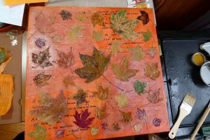 Watching Leaves Turn: maple leaf encaustic collage by Maike's Marvels