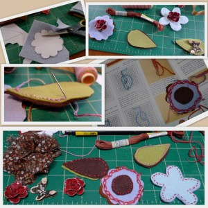 stitching felt flowers for a headband