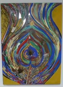 peacock acrylic painting displayed at MOCAH
