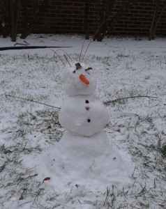 toddler's first snowman