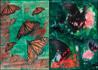 encaustic collages by Maike's Marvels