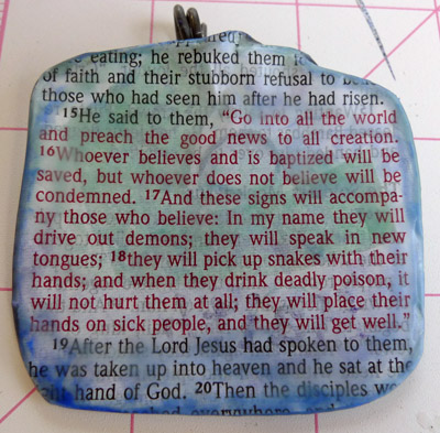 Faith wax and wire pendant back