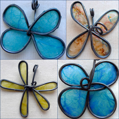 Spring Flowers wax and wire pendants by Maike's Marvels