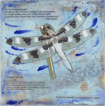12-spotted Skimmer encaustic collage by Maike's Marvels