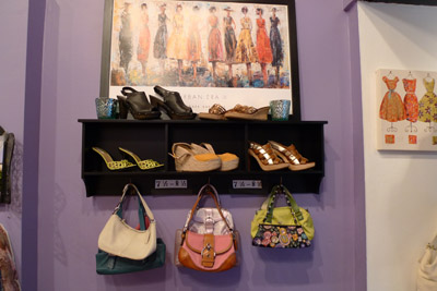 Swap Shop purses and shoes - photo by Maike's Marvels