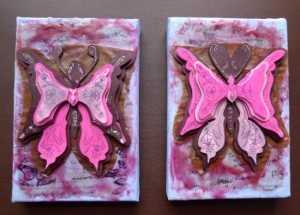 Butterfly collages by Maike's Marvels, mixed media and encaustic