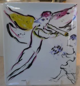 Angel by Chagall on a plate