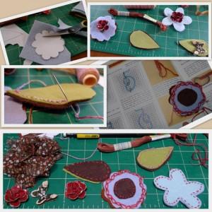stitching felt flowers for a headband