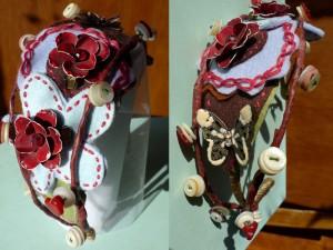 details of felt flower headband