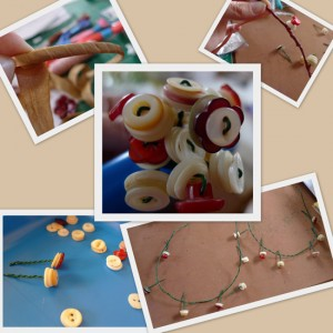 creating a headband with buttons and wire