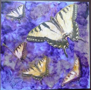 Swift Swallowtails encaustic collage by Maike's Marvels