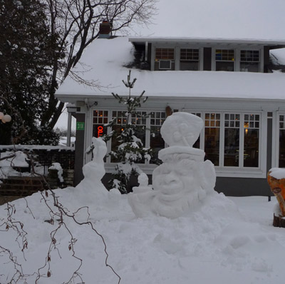 rabbit snow sculpture at Graham's 318