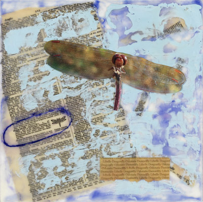Ruby Meadowhawk encaustic collage by Maike's Marvels
