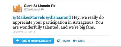 Artrageous Tweet