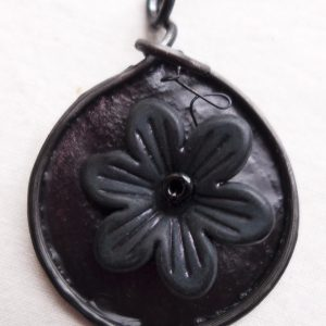 Black Flower Pendant by Maike's Marvels