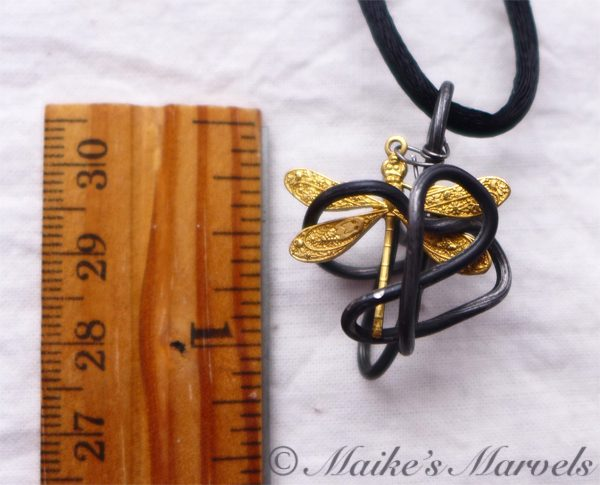 Pewter Dragonfly Cage Pendant by Maike's Marvels